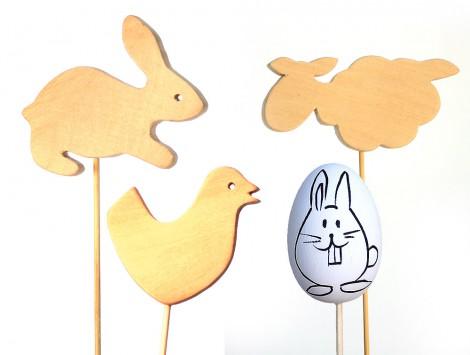 Drewniane zwierzątka i pisanki do dekoracji decoupage