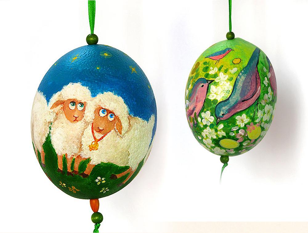 Pisanki ręcznie malowane na wydmuszkach strusich jaj